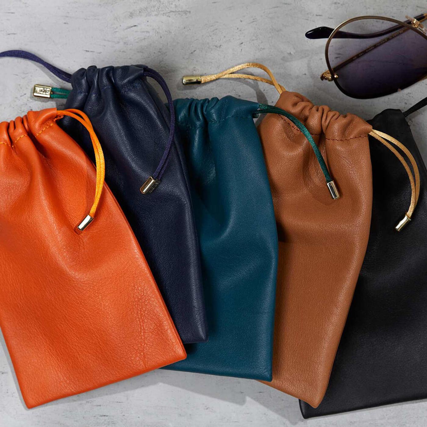 Sahara Tan Medium Leather Accessories Pouch   Bombinate