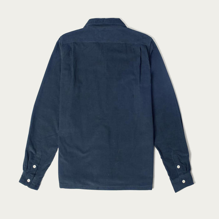 Navy Mens Cord Camp Collar Shirt   Bombinate
