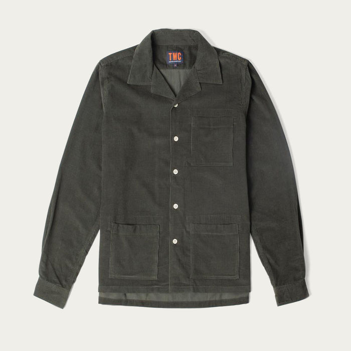 Olive Mens Cord Camp Collar Shirt | Bombinate
