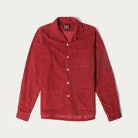 Red Mens Cord Camp Collar Shirt | Bombinate