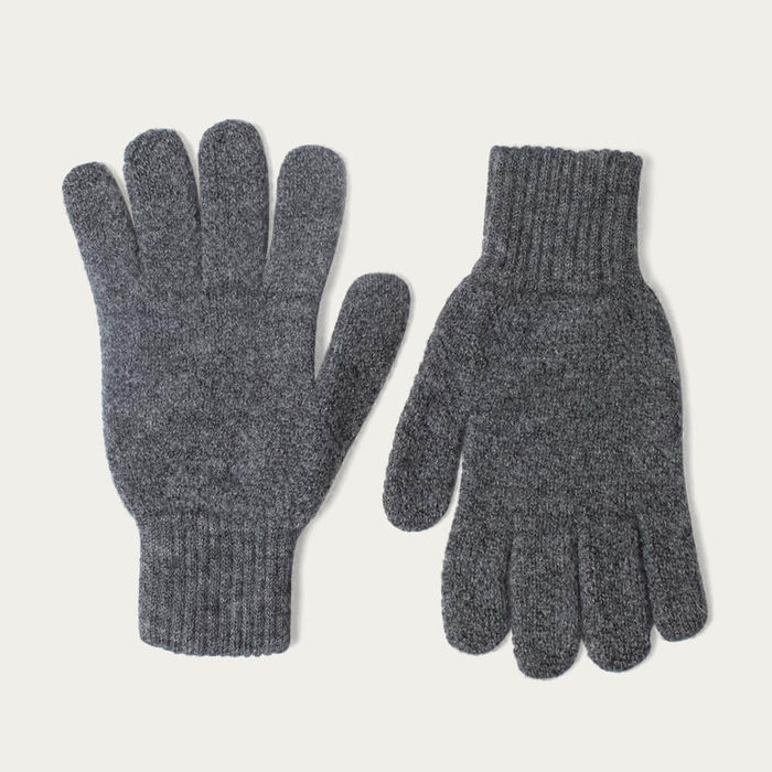 Charcoal Grey Mens Merino Wool Knitted Gloves   Bombinate