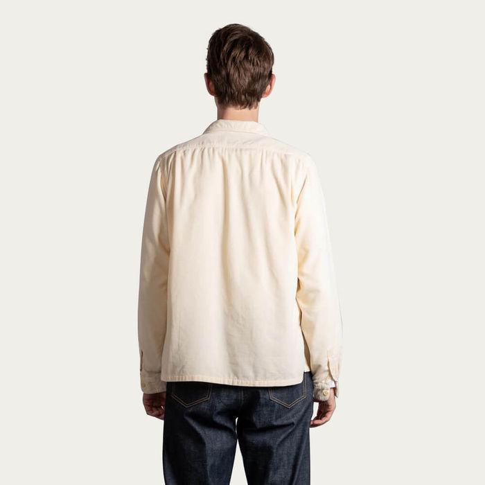 Cream Mens Cord Camp Collar Shirt | Bombinate