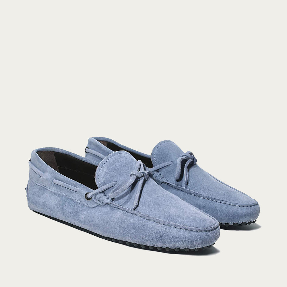 Light Blue Suede Driving Shoes | Bombinate