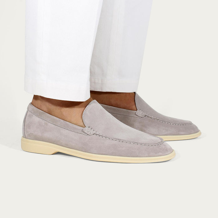 Light Grey Suede Yacht Loafer | Bombinate