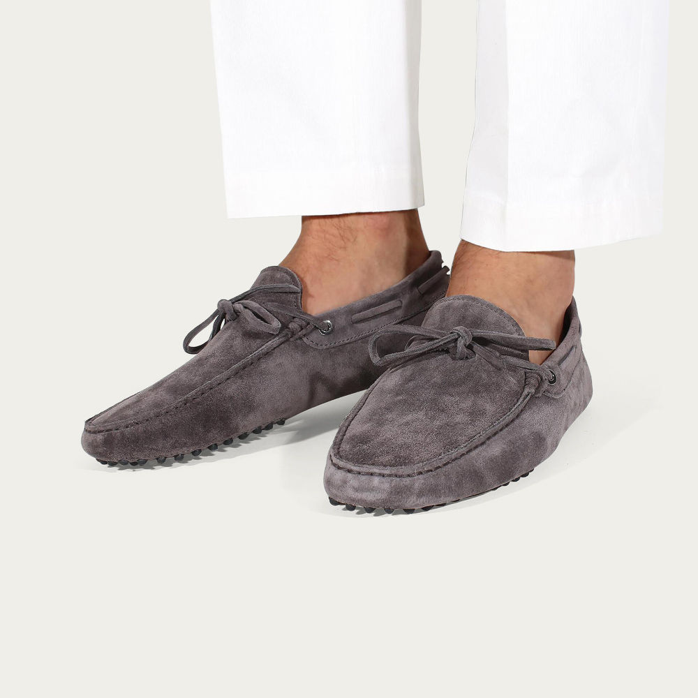 Warm Grey Suede Driving Shoes | Bombinate