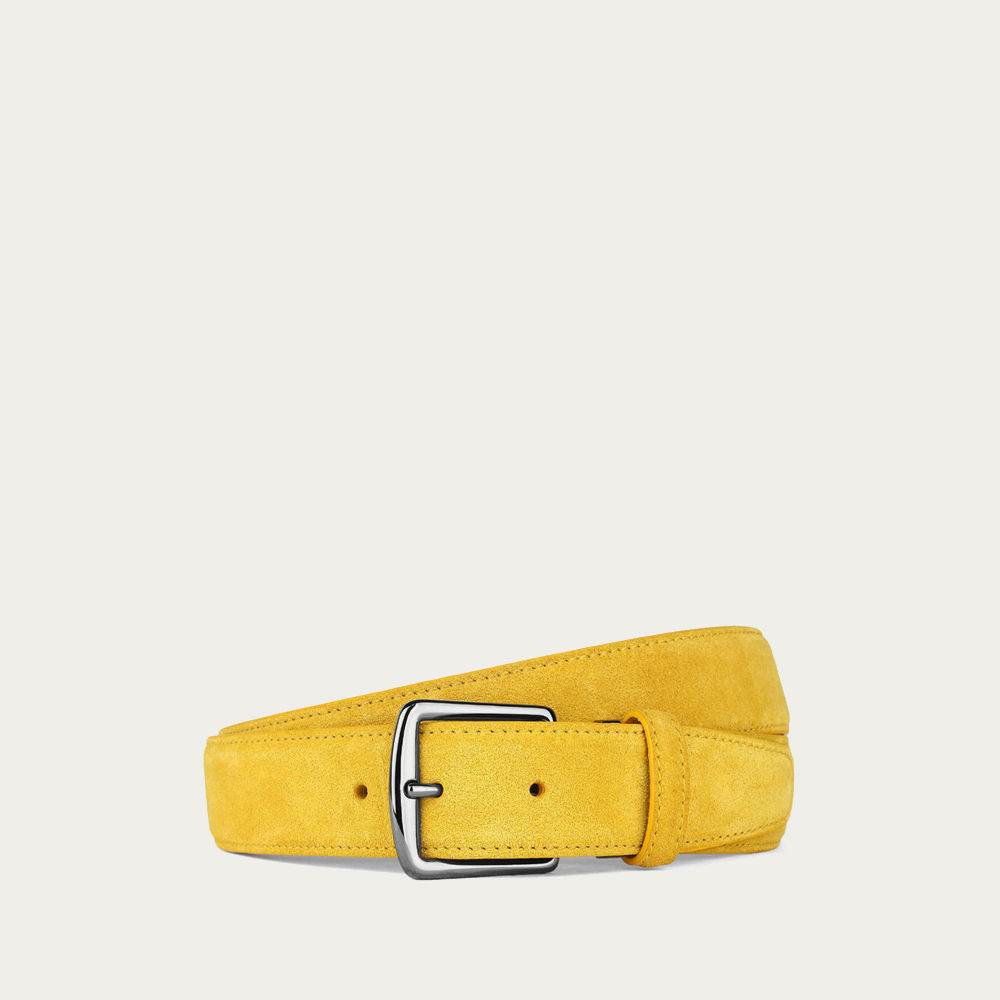 Yellow Suede Leather Belt | Bombinate