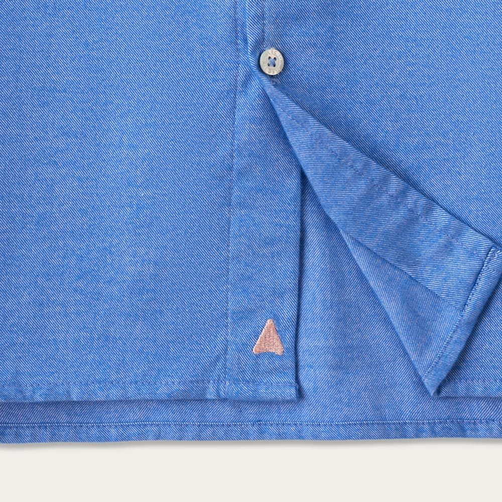Snorkel Blue Cotton Shawl Collar Casual Shirt  | Bombinate