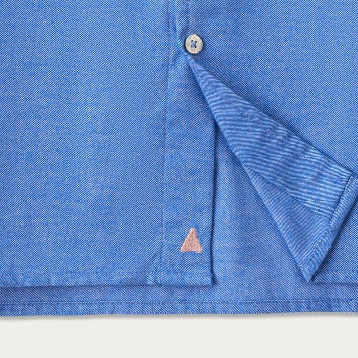 Snorkel Blue Cotton Shawl Collar Casual Shirt    Bombinate
