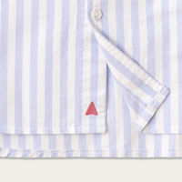 Blue and White Stripe Cotton Shawl Collar Casual Shirt  | Bombinate