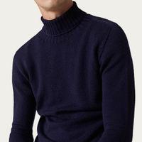 Blue Navy The Wool Turtleneck Sweater   Bombinate