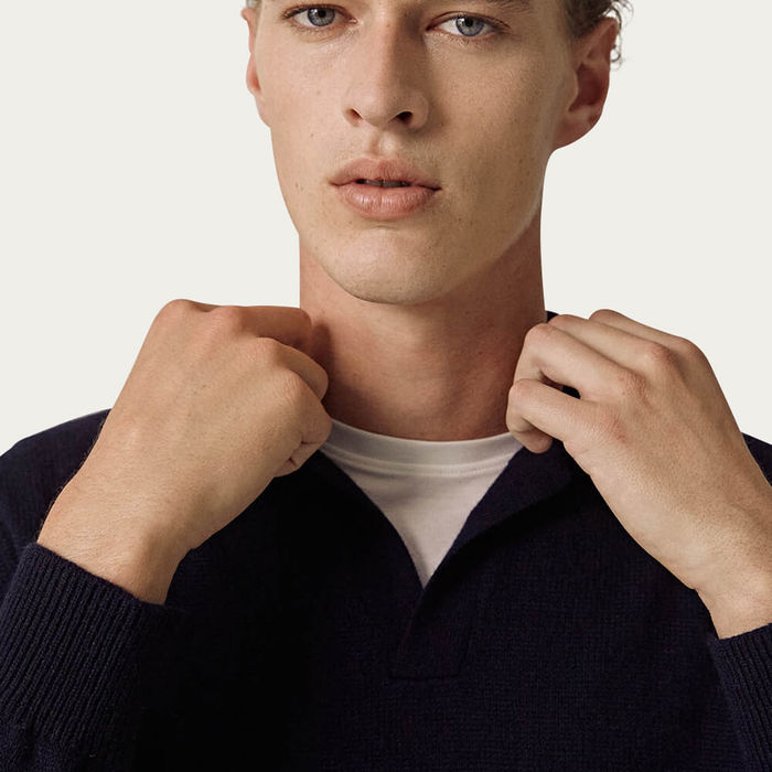 Blue Navy The Cashmere Vintage Polo   Bombinate