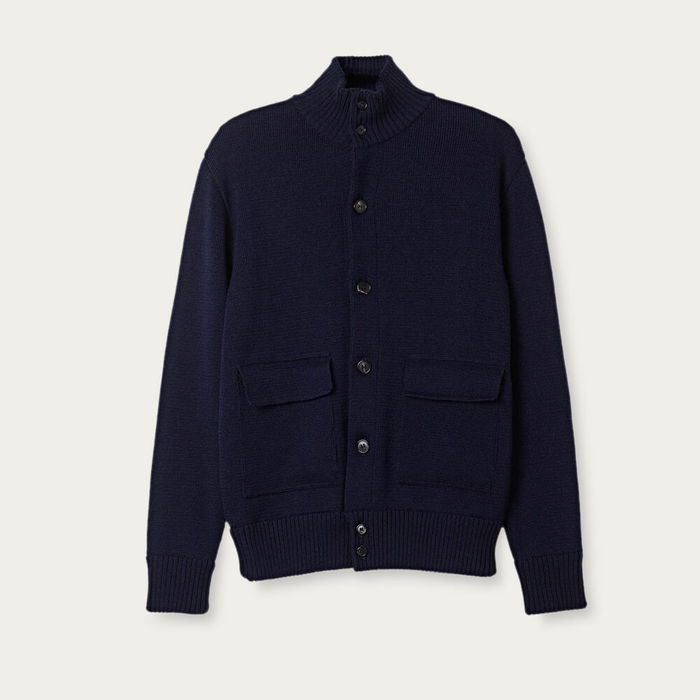 Blue Navy The Wool Knit Jacket | Bombinate