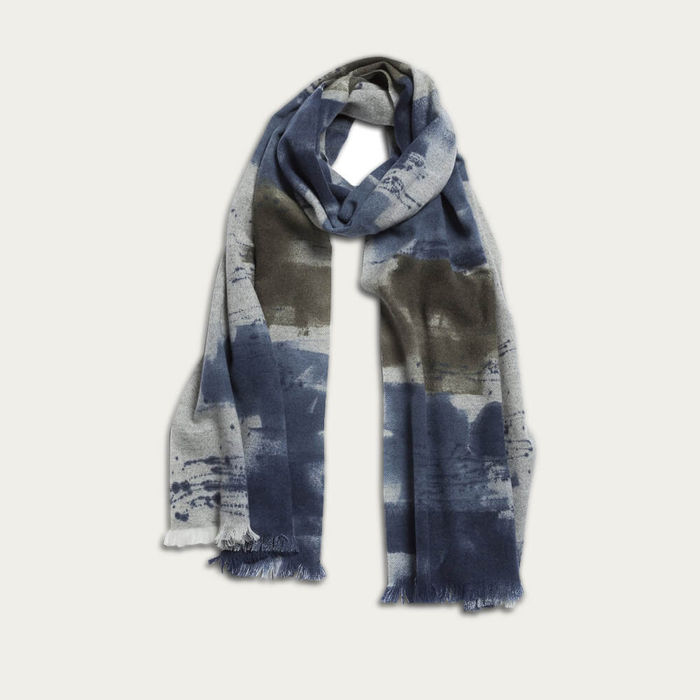 Grey & Blue Marco Scarf – Handpainted Cashmere Scarf | Bombinate