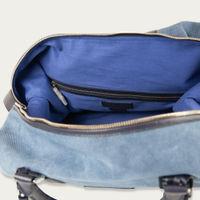 Denim Blue Canvas & Navy Saffiano Leather Nando Weekender | Bombinate