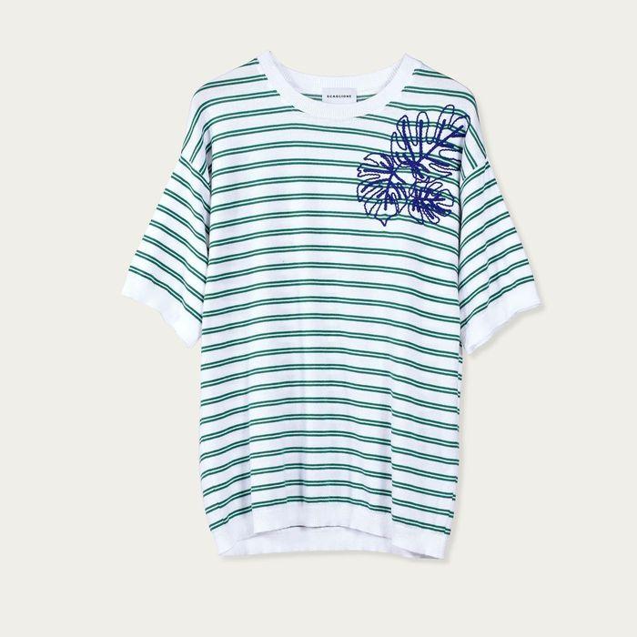 White/Green Riga Portofino Ricamo T-Shirt   Bombinate