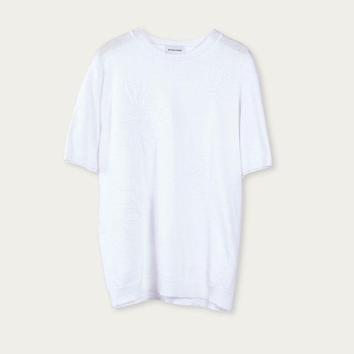 White Linencott Embroidered T-Shirt | Bombinate