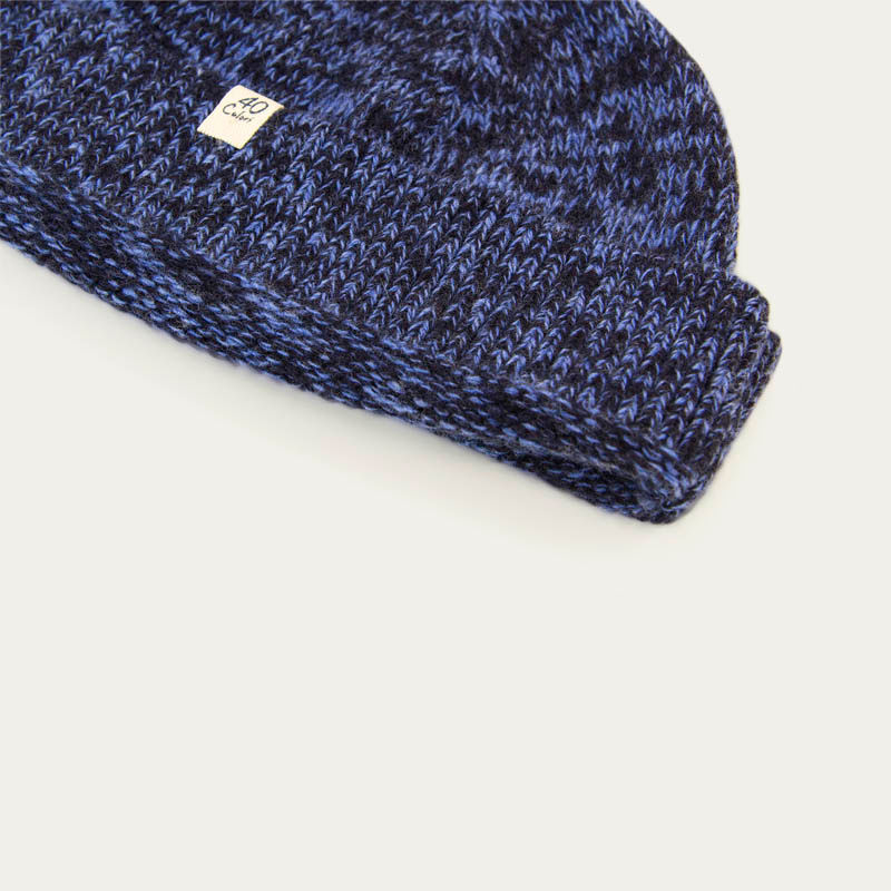 Navy Melange Wool & Cashmere Fisherman Beanie | Bombinate