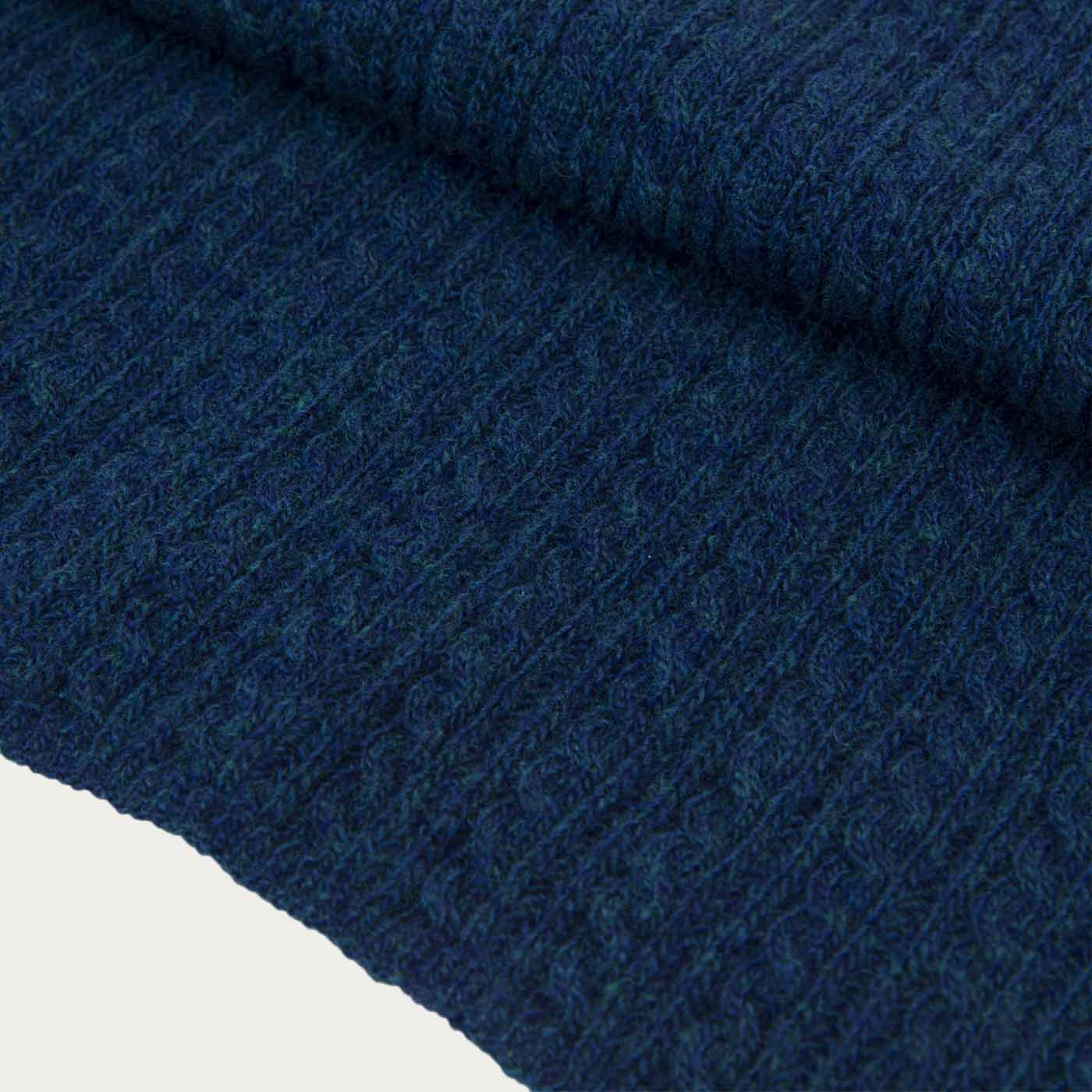 Petrol Blue Braided Wool & Cashmere Scarf | Bombinate
