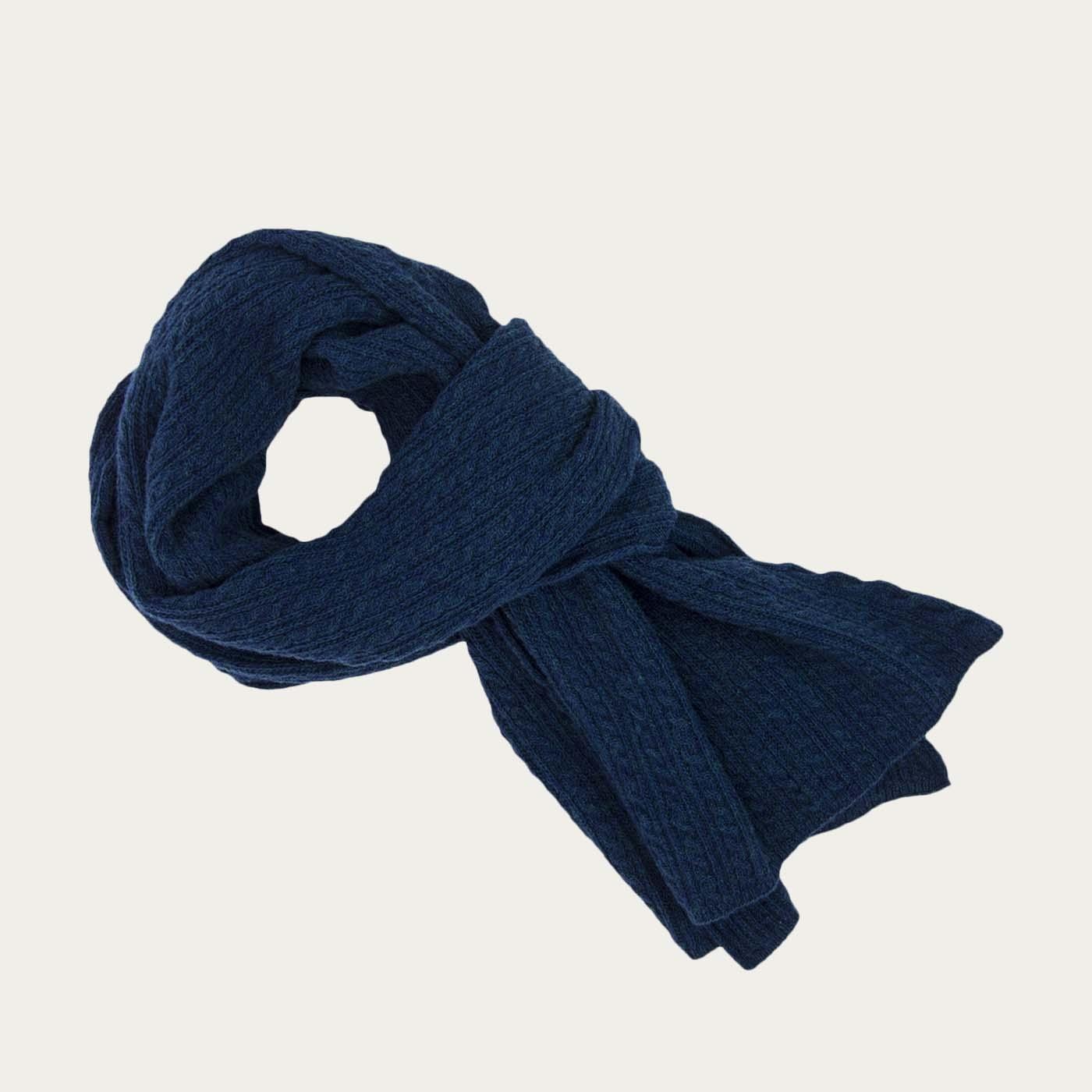 Petrol Blue Braided Wool & Cashmere Scarf 0