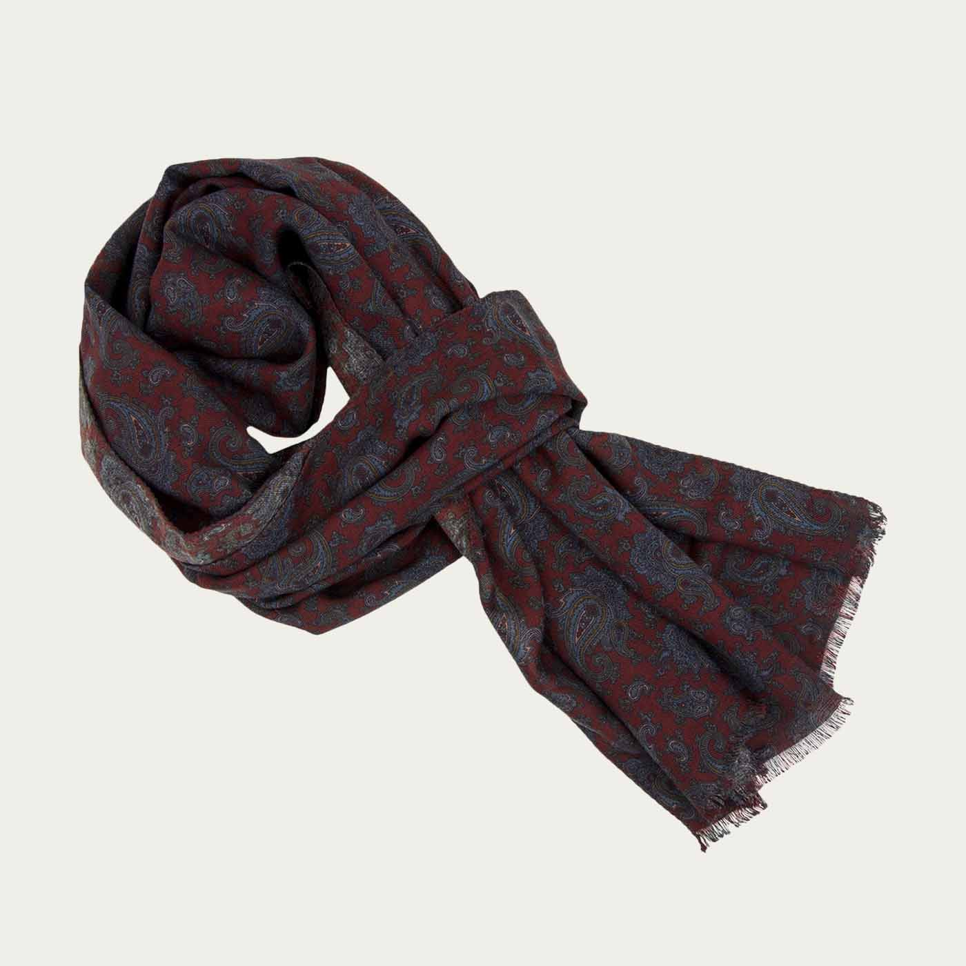 Burgundy Ancient Paisley Wool and Silk Scarf   | Bombinate