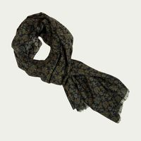 Navy Small Antique Paisley Wool & Silk Scarf | Bombinate