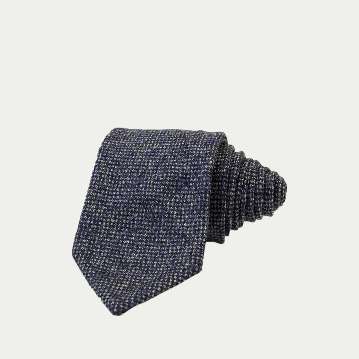 Dark Blue Donegal Wool Tie  | Bombinate