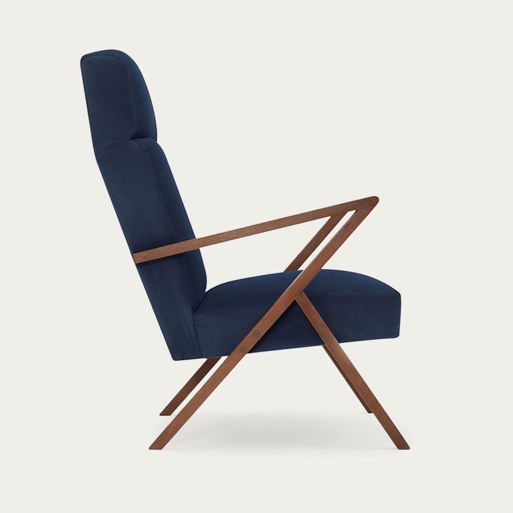 Navy Blue Retrostar Lounge Chair Velvet Line | Bombinate