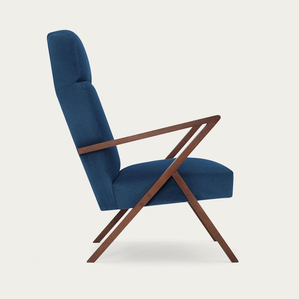 Royal Blue Retrostar Lounge Chair Velvet Line | Bombinate