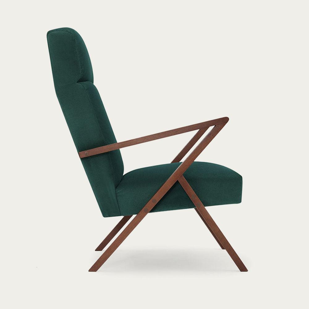 Hunter Green Retrostar Lounge Chair Velvet Line | Bombinate