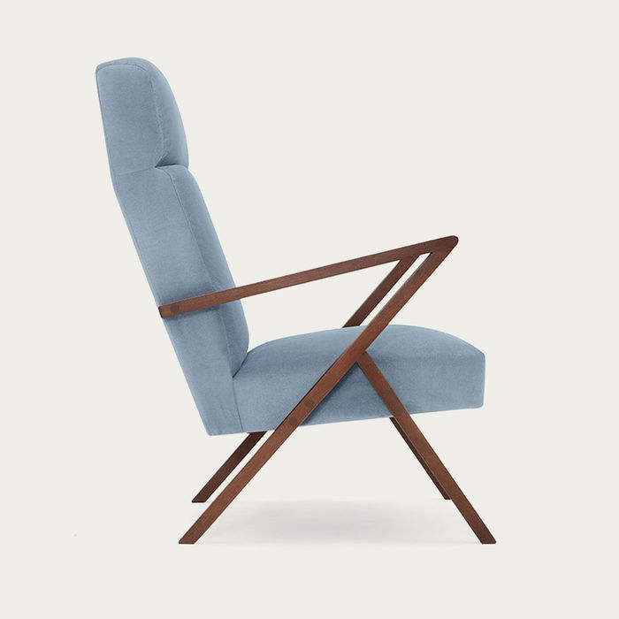 Ice Grey Retrostar Lounge Chair Velvet Line | Bombinate