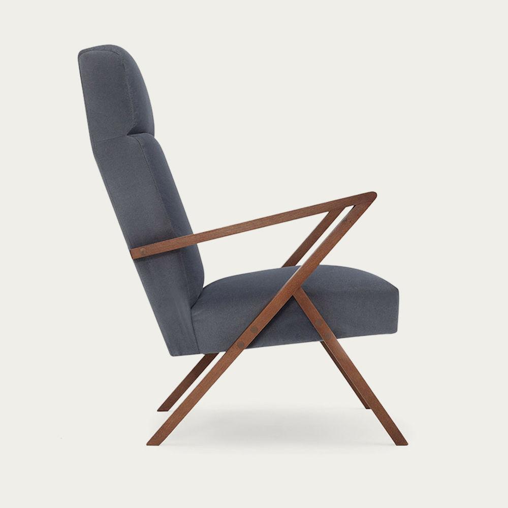 Grey Retrostar Lounge Chair Velvet Line   Bombinate