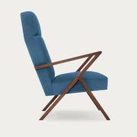Ocean Blue Retrostar Lounge Chair Velvet Line | Bombinate