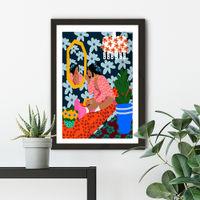 Mirror Girl Art Print Black Frame | Bombinate