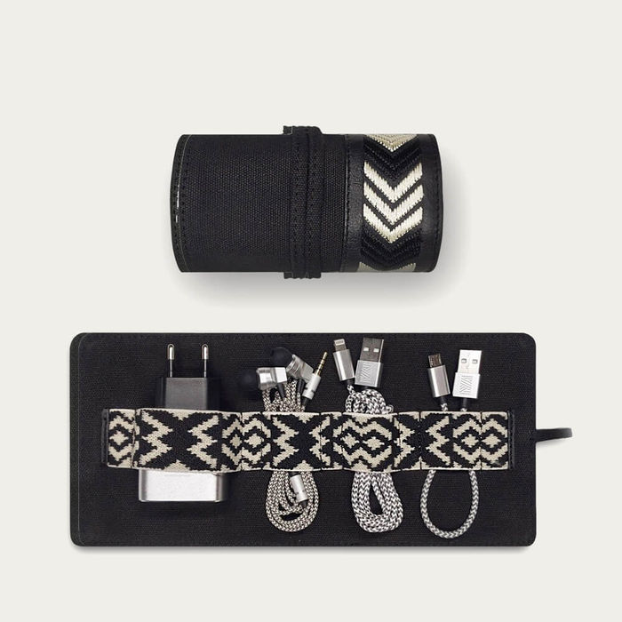 Black Gaucho Canvas TechRoll Mini: Mobile Phone Accessories Kit + Power Bank | Bombinate