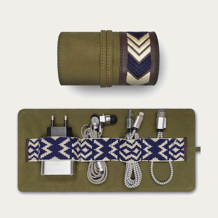 Khaki Gaucho Canvas TechRoll Mini: Mobile Phone Accessories Kit + Power Bank | Bombinate