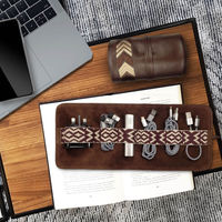 Chocolate Brown Gaucho TechRoll: Mobile Phone Accessories Kit + Power Bank | Bombinate