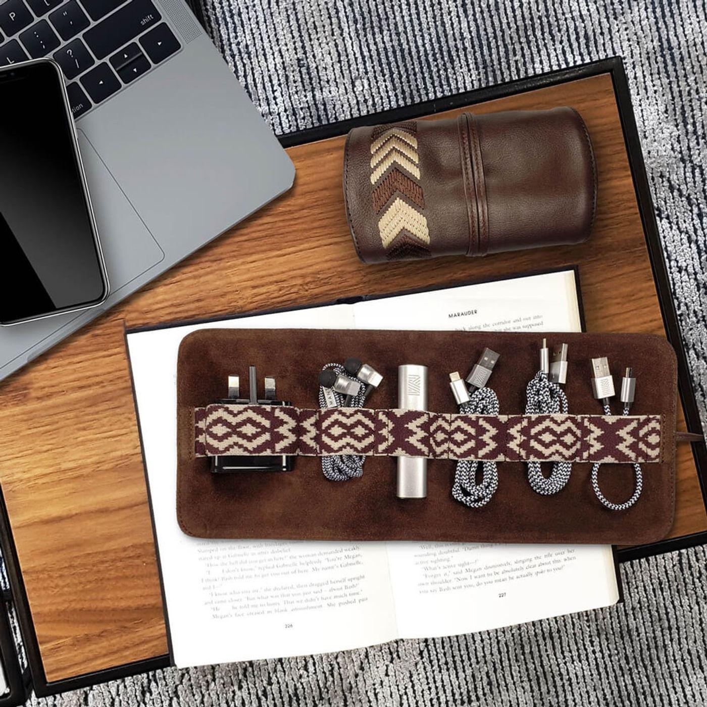 Chocolate Brown Gaucho TechRoll: Mobile Phone Accessories Kit + Power Bank | Bombinate