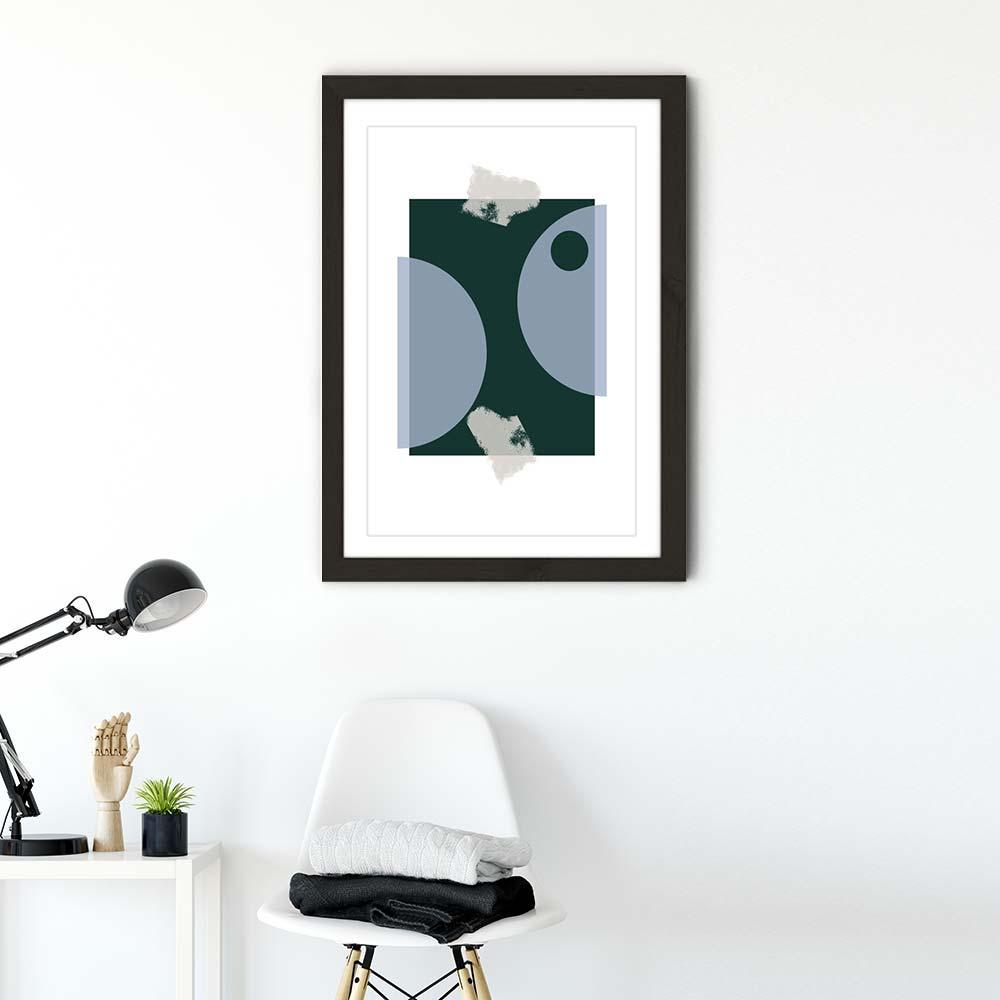 Black Frame Blue & Green Art Print   Bombinate