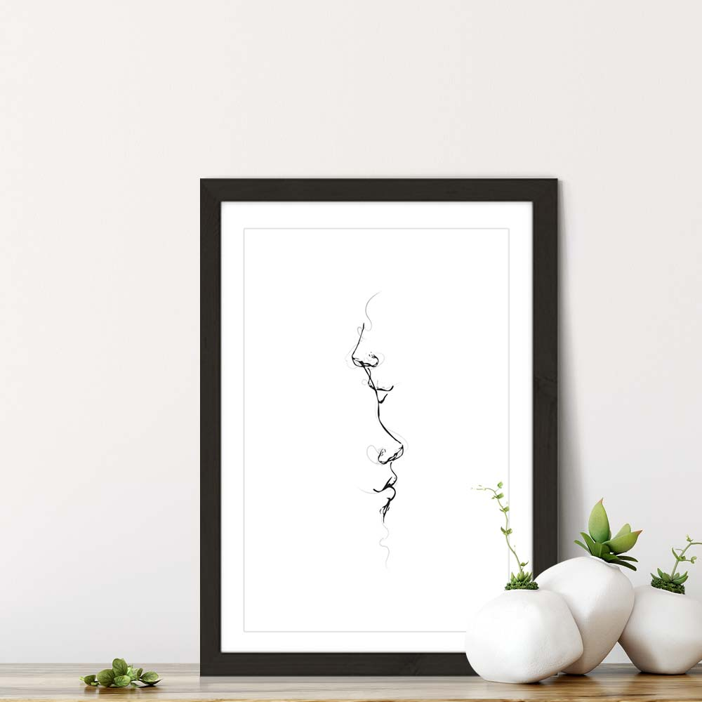 Black Frame Kiss Me By Your Heart Art Print | Bombinate