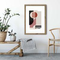 Oak Frame Rose Grey & Brown Art Print   Bombinate