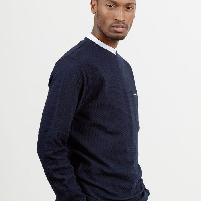 Navy Curve Sweatshirt  | Bombinate