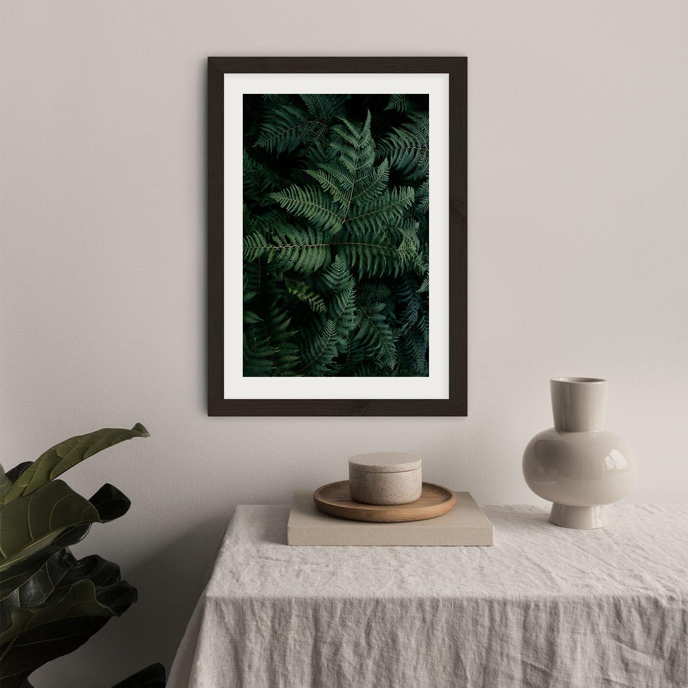 Lush Forest Greens Art Print Black Frame | Bombinate