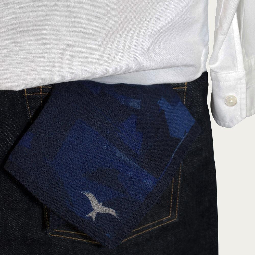 Navy Pocket Square Camo Print | Bombinate