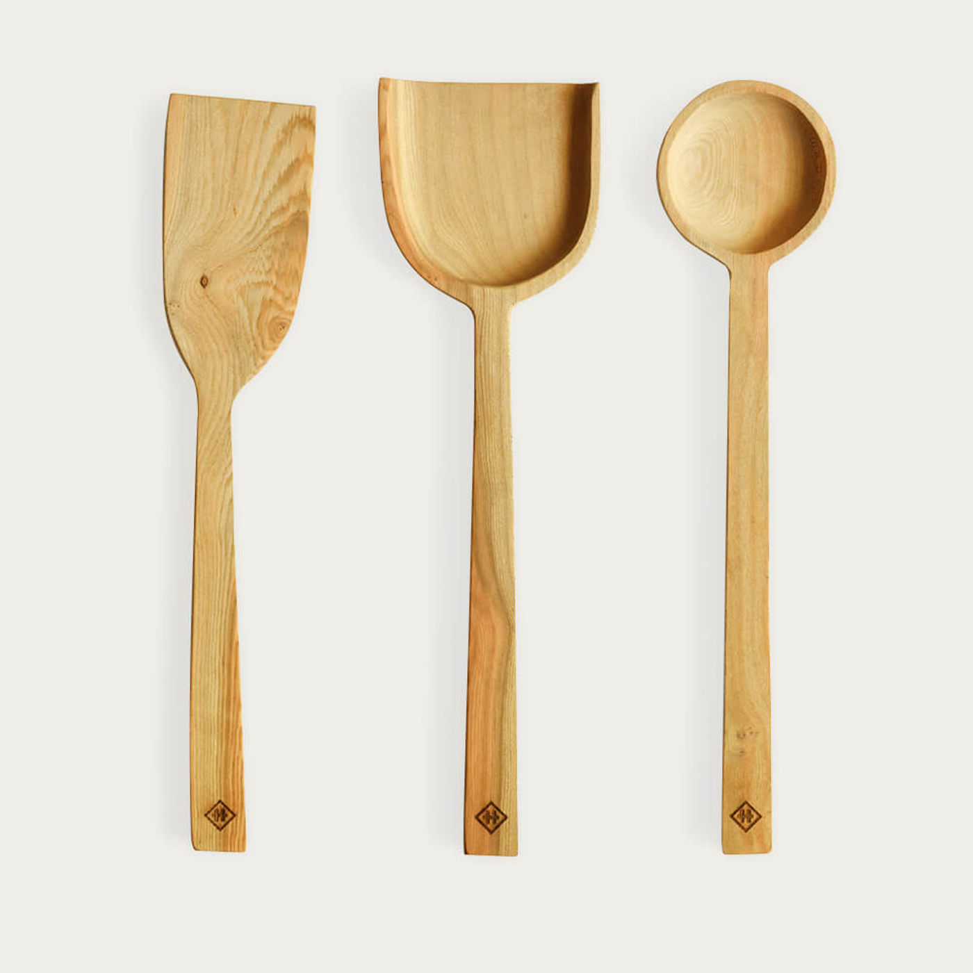 Tan Set of 3 Wooden Spoons   Bombinate