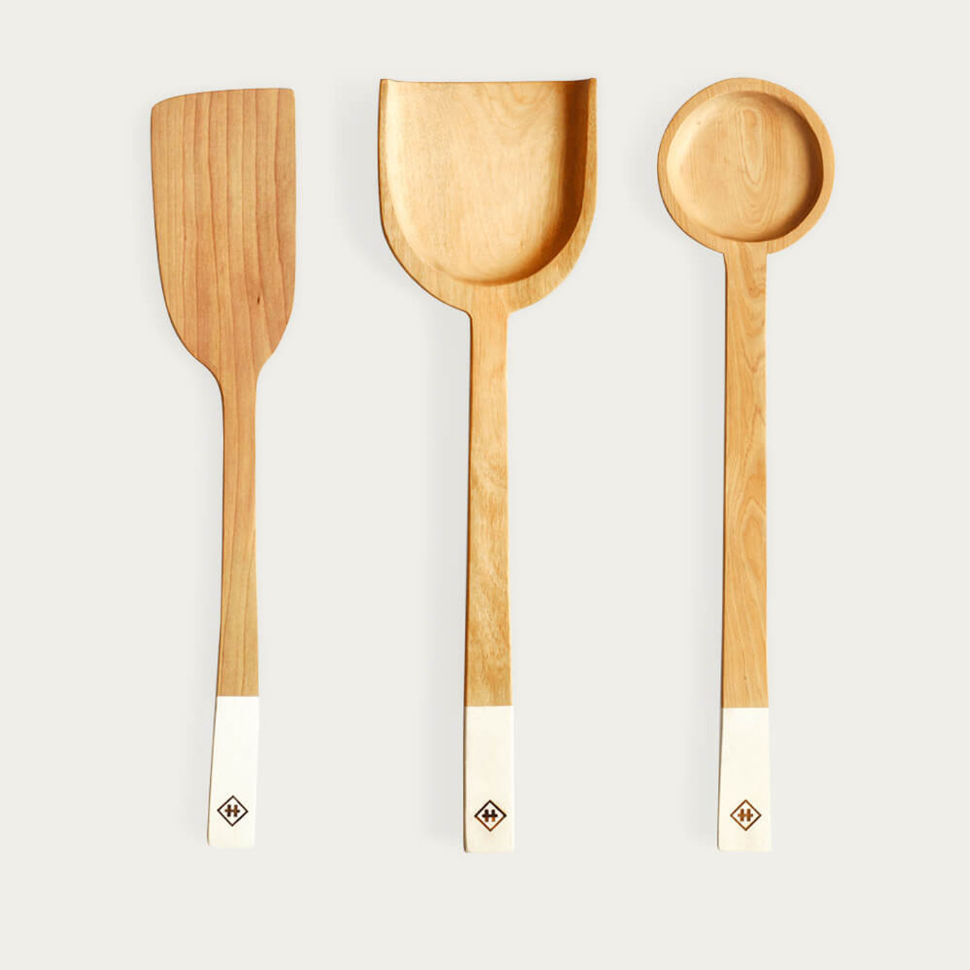 White Set of 3 Wooden Spoons | Bombinate