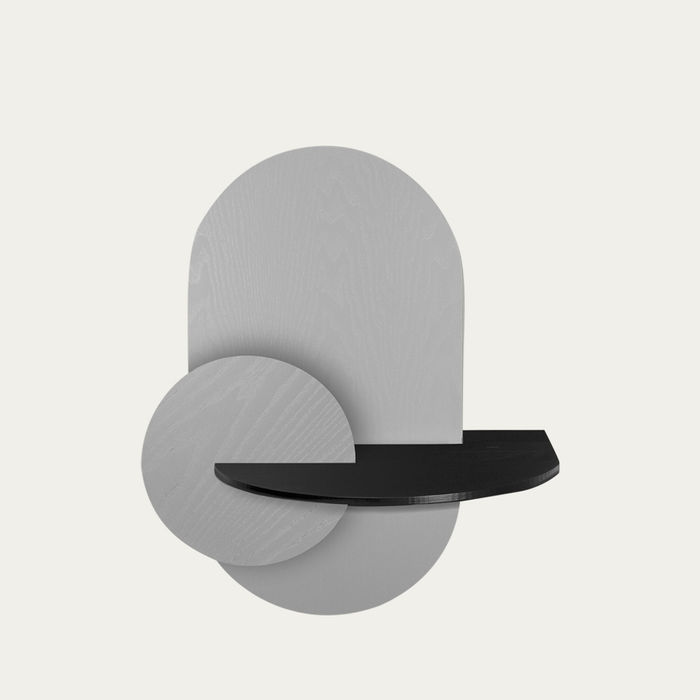 Grey, Black and Grey Alba L Oval Beside Table | Bombinate