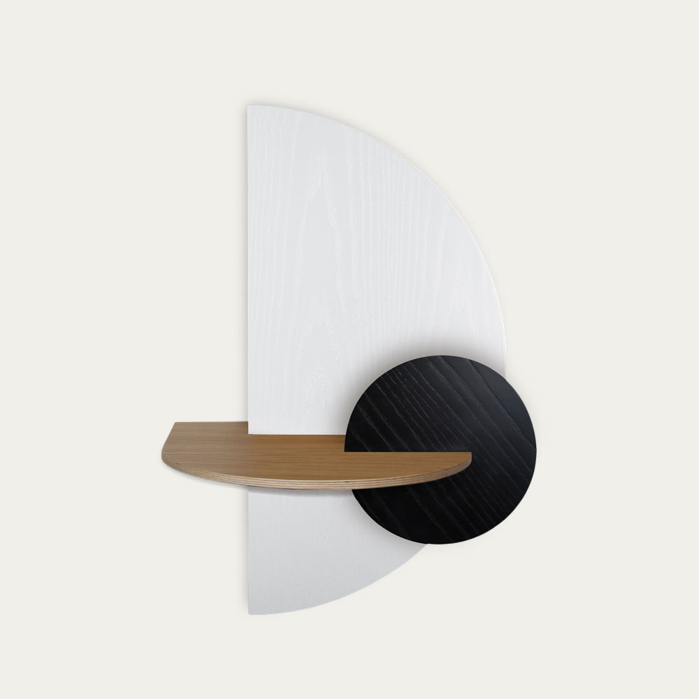 White, Oak and Black Alba L Semi Circle Beside Table | Bombinate