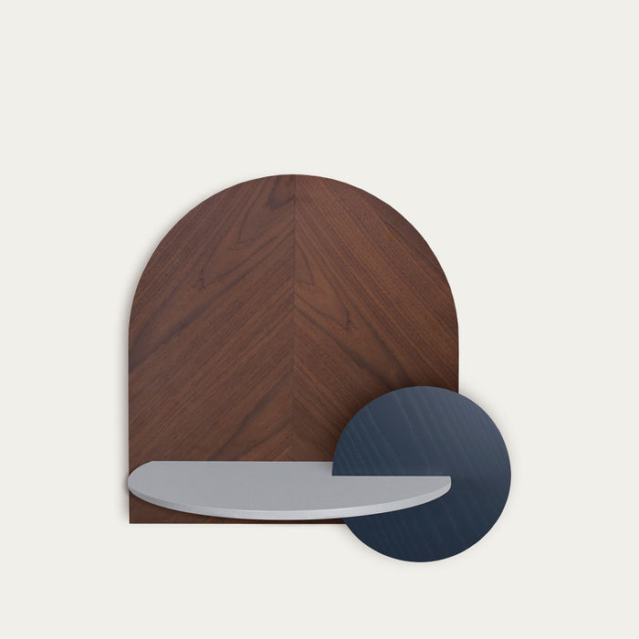 Walnut, Grey and Blue Alba L Herringbone Beside Table | Bombinate