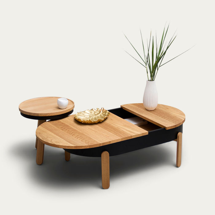 Oak/Black Large Batea Coffee Table    Bombinate