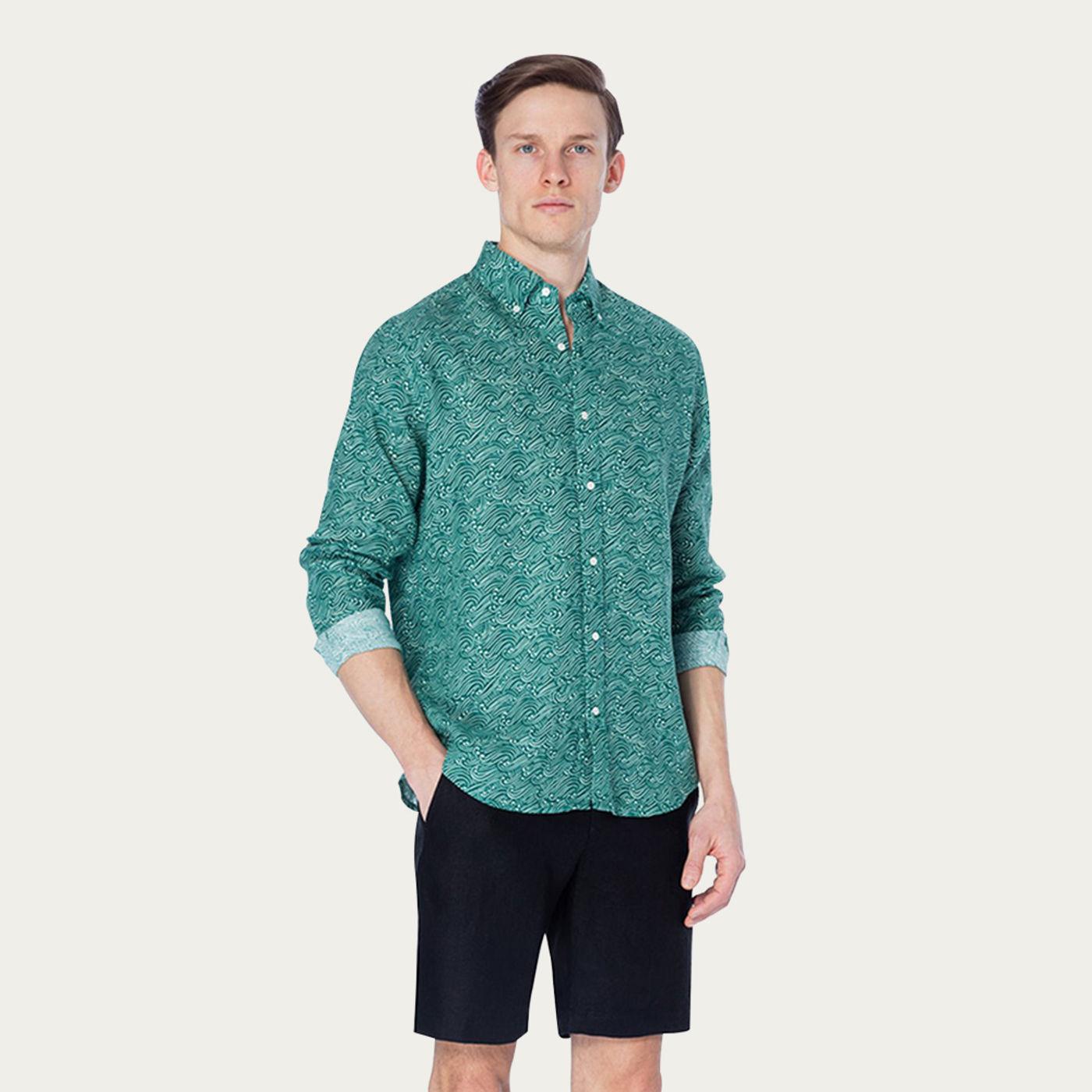 Green Breeze Martin Printed Shirt | Bombinate